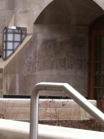 """The attempt to erase the """"Fuck Capitalism"""" sentiment, added to the Kelley School of Business in November 2014, was in vain."""